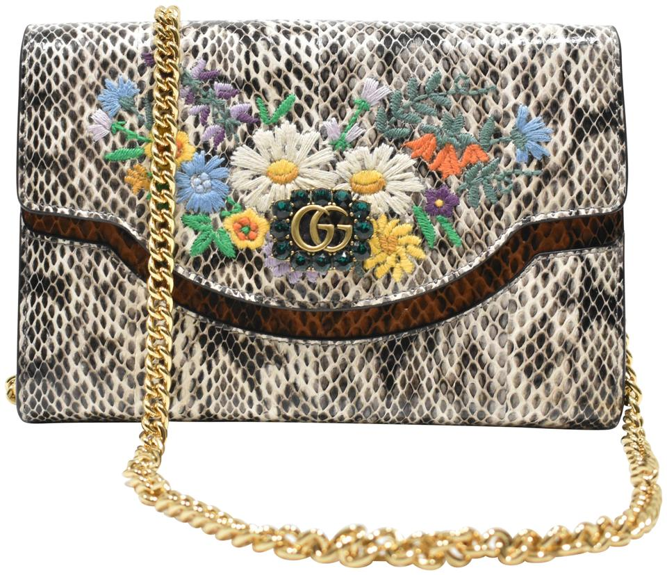 584441c23 Gucci Floral Wallet On A Chain Snakeskin Cross Body Bag - Tradesy