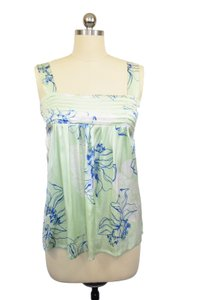 Charlotte Tarantola Floral Babydoll Pleated Top Green