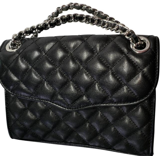 Item - Black Quilted Leather Small Shoulder Convertible Bag Silver Chain Flop Snap Closure. Back Pocket Inside Scarf/Wrap