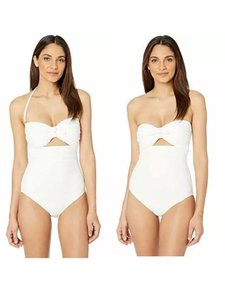 Kate Spade Grove Beach Tie Bandeau One Piece Swimsuit Removable Cups White
