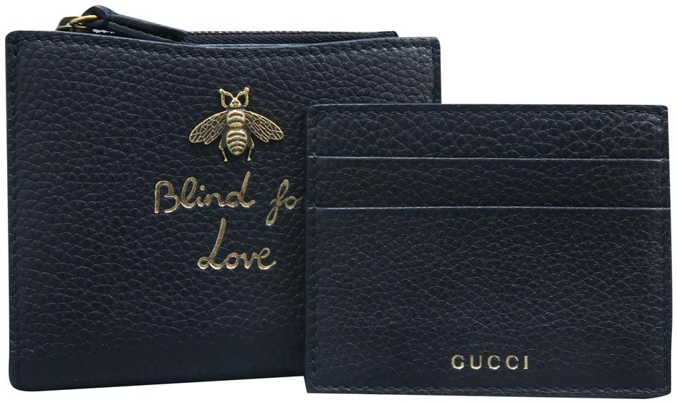 eac3a9f8 Gucci Black Blind For Love Calfskin Bee Wallet