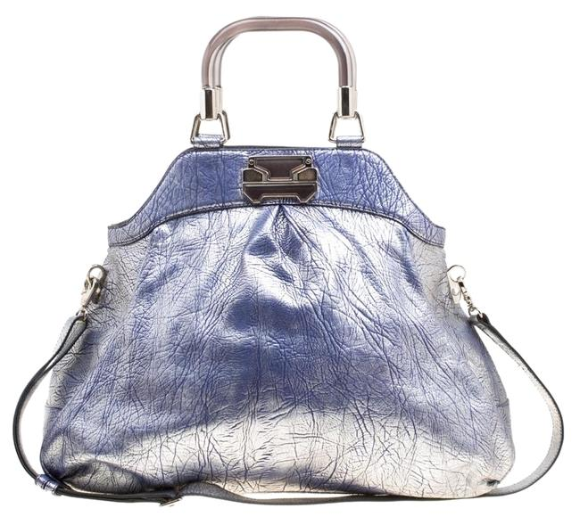 Item - Top Handle Silver/Blue Textured Silver Leather Shoulder Bag
