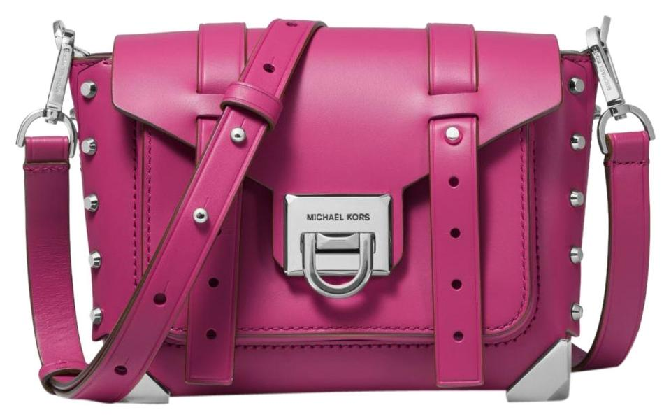 Michael Kors Manhattan Small Deep Fuchsia Leather Cross Body Bag