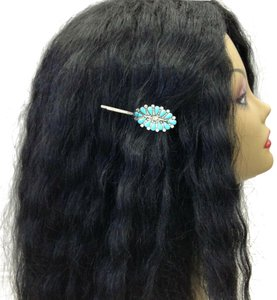 Generic Turquoise Stone Pendant Silver Finish Hair Accessories Bobby Pin