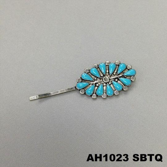 Generic Turquoise Stone Pendant Silver Finish Hair Accessories Bobby Pin Image 2