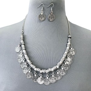 Generic Silver Bohemian Style Designer Inspired Statement Necklace Earrings