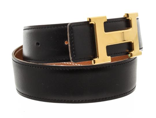 Hermès Hermes Black Leather Reversible Constance H Belt 65 Image 2