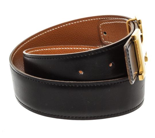 Hermès Hermes Black Leather Reversible Constance H Belt 65 Image 3