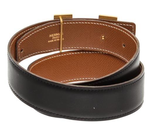 Hermès Hermes Black Leather Reversible Constance H Belt 65 Image 4