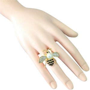 Generic Elegant Style Gold Finish Bumble Bee Insect Pearl Bead Stretch Ring