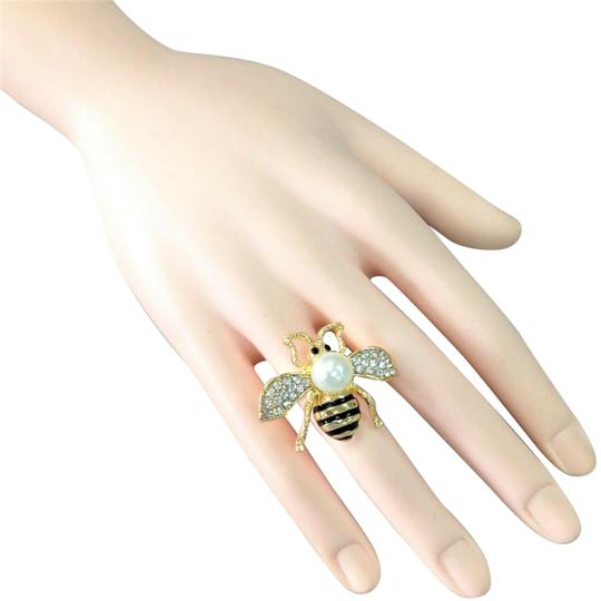 Preload https://img-static.tradesy.com/item/25519012/elegant-style-gold-finish-bumble-bee-insect-pearl-bead-stretch-ring-0-1-540-540.jpg