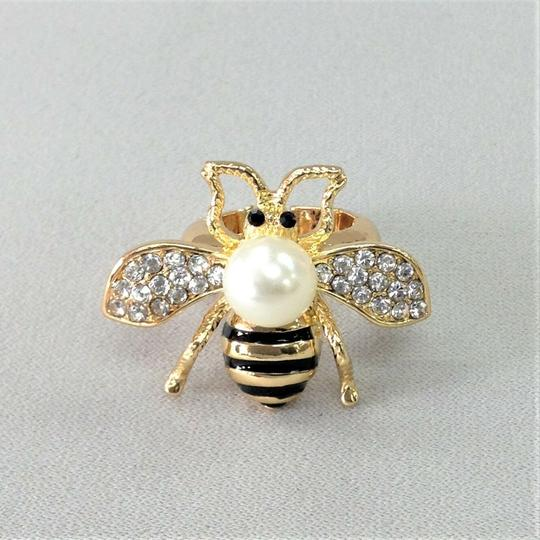 Generic Elegant Style Gold Finish Bumble Bee Insect Pearl Bead Stretch Ring Image 1