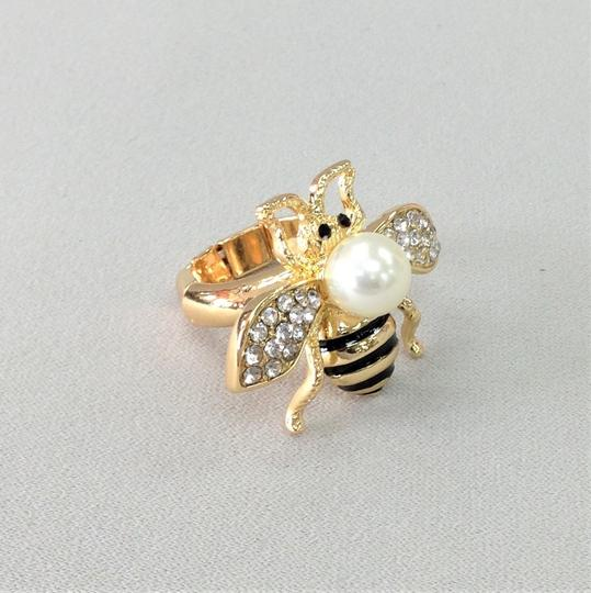 Generic Elegant Style Gold Finish Bumble Bee Insect Pearl Bead Stretch Ring Image 2