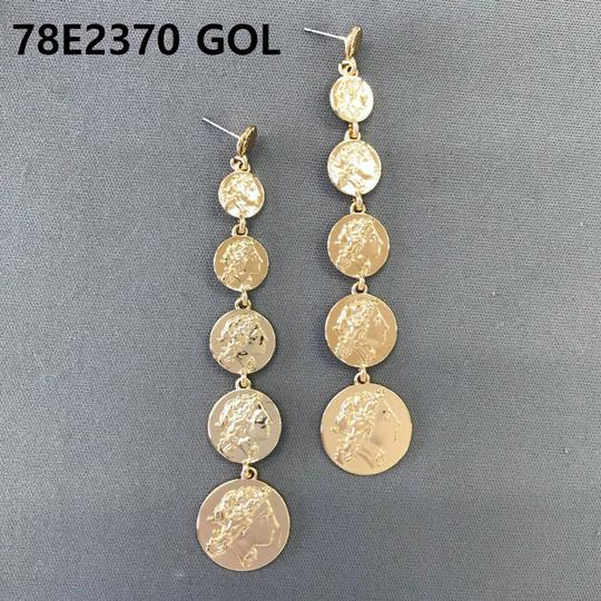 Generic Gold Finished Rome Emperor Design Sextuple Circle Shapes Earrings Image 2