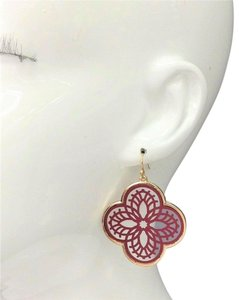 Generic Burgundy Filigree Cut Out Floral Shape Clover Design Drop Earrings