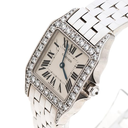 Cartier Diamond 18k White Gold Santos Demoiselle 2703 Women's Wristwatch 28MM Image 1