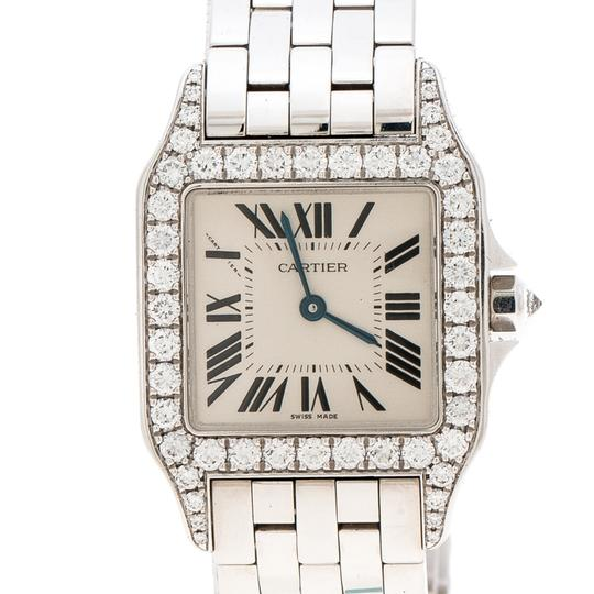Cartier Diamond 18k White Gold Santos Demoiselle 2703 Women's Wristwatch 28MM Image 2