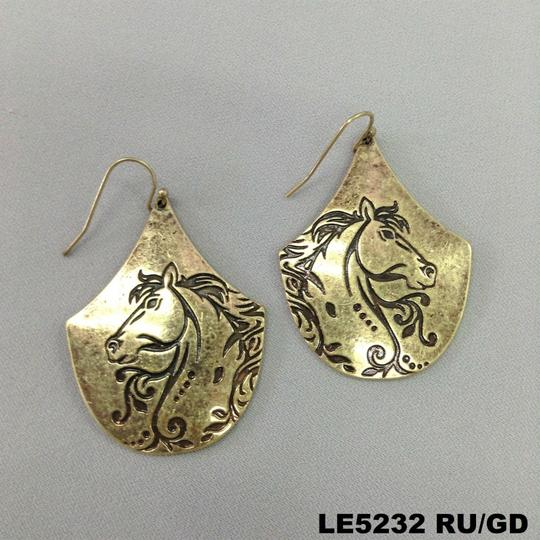 Generic Gold Finish Bohemian Style Engraved Country Horse Design Earrings Image 2