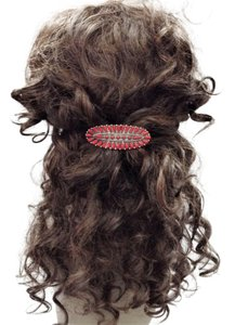 Generic Western Style Antique Silver Finish Red Colored Stone French Hair Clip