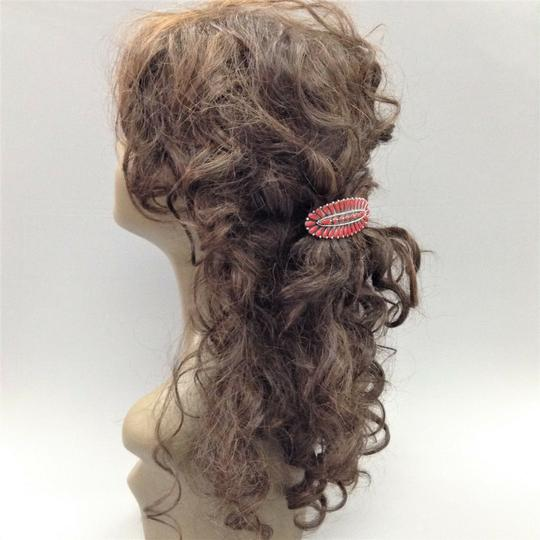 Generic Western Style Antique Silver Finish Red Colored Stone French Hair Clip Image 1