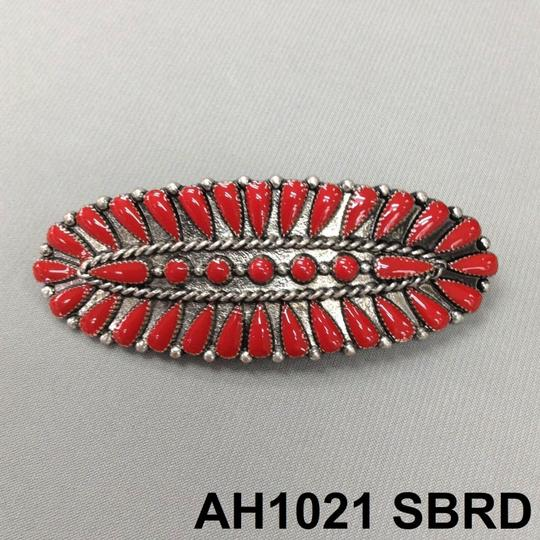 Generic Western Style Antique Silver Finish Red Colored Stone French Hair Clip Image 3