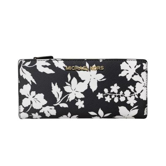 Michael Kors Michael Kors Jet Set Large Card Case Carryall Wallet Navy Floral Image 2