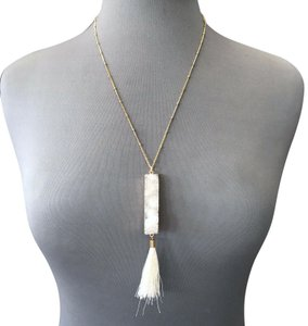 Generic Gold Chain White Rectangle Shaped Natural Druzy Stone Tassel Necklace