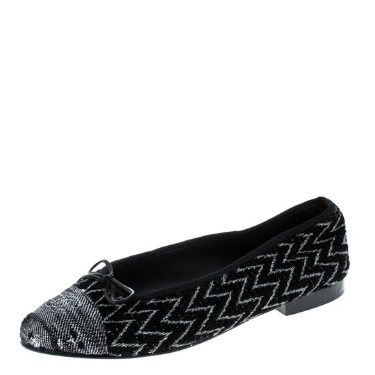 Chanel Monochrome Tweed Ballet Black Flats Image 0