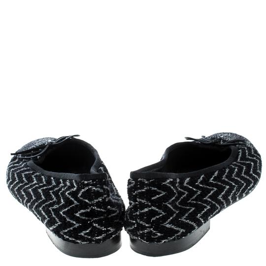 Chanel Monochrome Tweed Ballet Black Flats Image 2