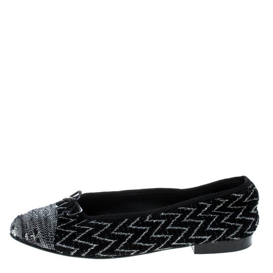 Chanel Monochrome Tweed Ballet Black Flats Image 4