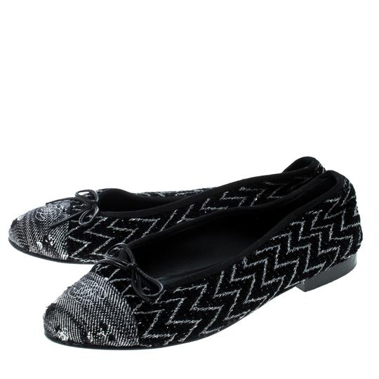 Chanel Monochrome Tweed Ballet Black Flats Image 5