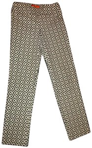 Krazy Larry Stretch Pull On Ankle Onmoo1 Straight Pants black & white geometric print