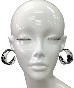 Generic Bohemian Style Epoxy Resin Black & White Round Wide Hoops Earrings