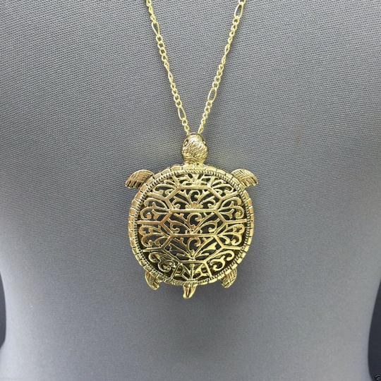 Generic Antique Gold Chain 5X Magnifying Glass Turtle Design Pendant Necklace Image 2