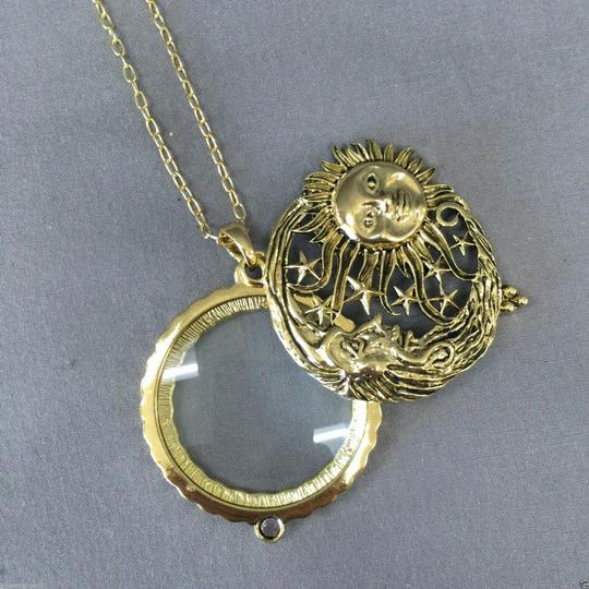 Generic Bohemian Antique Gold Moon Sun Stars 5X Magnifying Glass Necklace Image 2