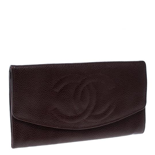 Chanel Maroon Leather CC Timeless Vintage Wallet Image 2
