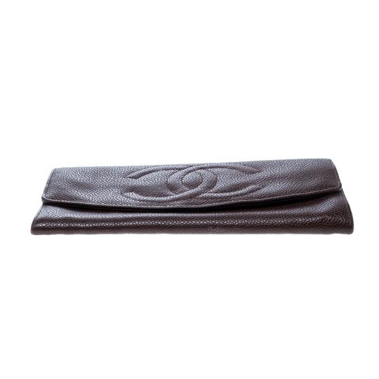 Chanel Maroon Leather CC Timeless Vintage Wallet Image 3