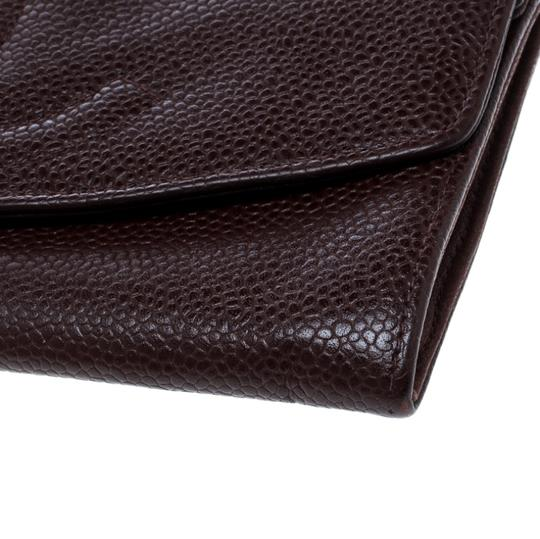 Chanel Maroon Leather CC Timeless Vintage Wallet Image 8