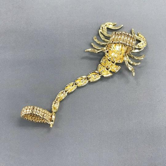 Generic Gold Finish Scorpion Insect Joint Gothic Punk Clear Rhinestones Ring Image 1