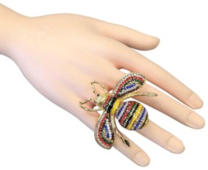 Generic Gold Finish Bumble Bee Insect Multi Color Rhinestones Stretch Ring