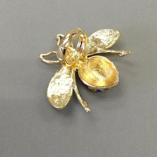 Generic Gold Finish Bumble Bee Insect Multi Color Rhinestones Stretch Ring Image 1