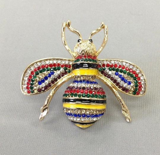 Generic Gold Finish Bumble Bee Insect Multi Color Rhinestones Stretch Ring Image 2