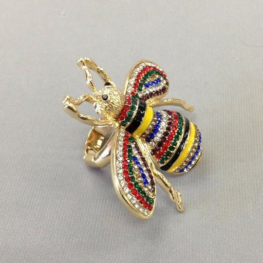 Generic Gold Finish Bumble Bee Insect Multi Color Rhinestones Stretch Ring Image 3