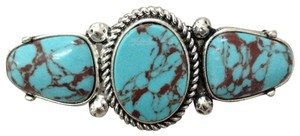Generic Turquoise Stones Silver Finish French Wide Pendant Hair Brooch