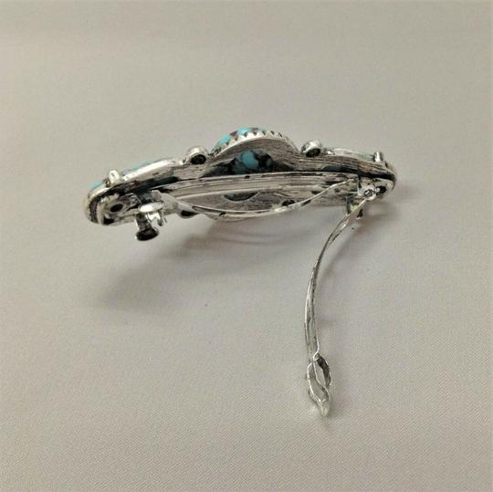 Generic Turquoise Stones Silver Finish French Wide Pendant Hair Brooch Image 1