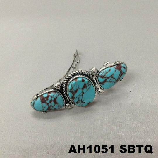 Generic Turquoise Stones Silver Finish French Wide Pendant Hair Brooch Image 2