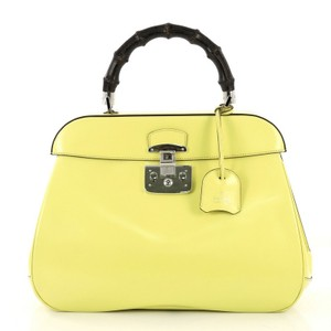 Gucci Top Handle Leather Satchel in yellow