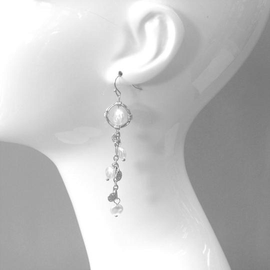 Generic Multi Round Flat Pearl One Strand Chandelier Hammered Silver Earring Image 1