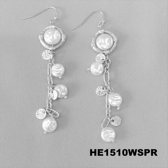 Generic Multi Round Flat Pearl One Strand Chandelier Hammered Silver Earring Image 2