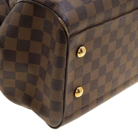 Louis Vuitton Leather Canvas Satchel in Brown Image 7